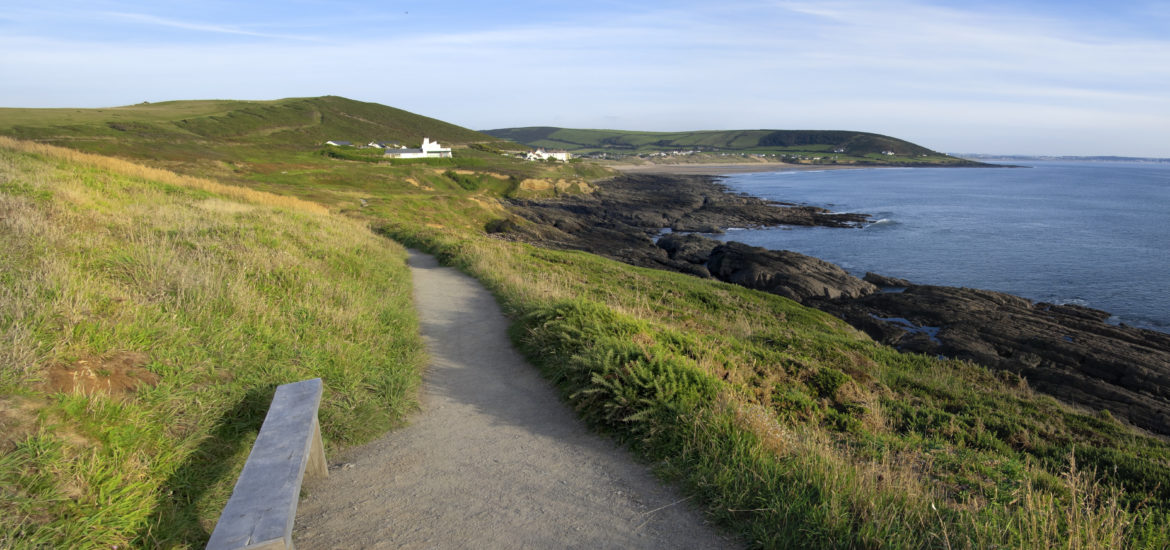 Croyde Bay on the north Devon coast - the view from the footpath to Baggy Point