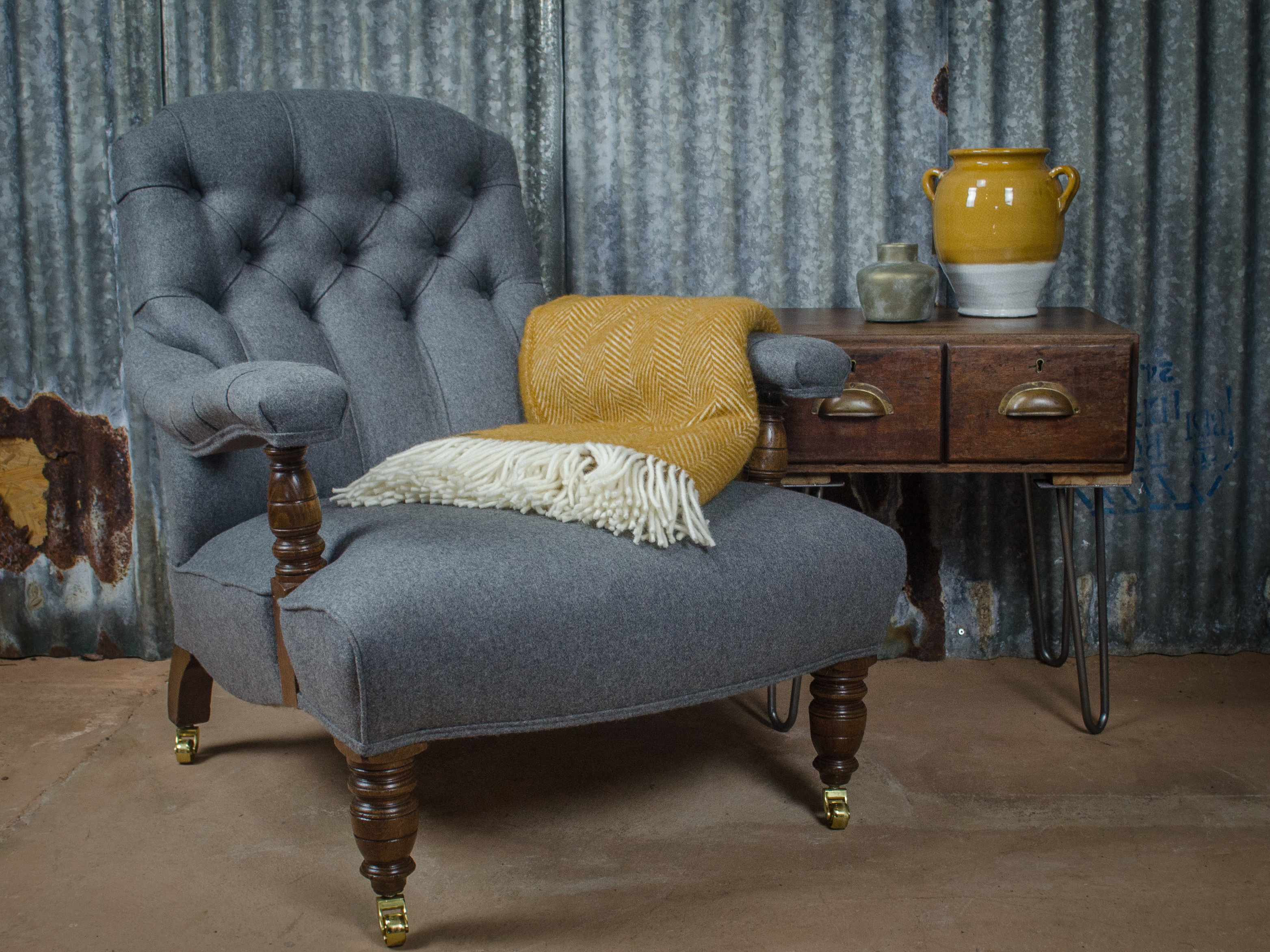 Amy is a trained seamstress and can transform tired furniture into something special